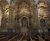 San Francisco lateral altars. Porto, Portugal - March 23, 2015: Part of lateral altars of San Francisco church (High ISO photo Stock Image