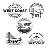 San Francisco Logo Stamp. Vector illustration of San Francisco logo stamp with Golden Gate Bridge stock illustration