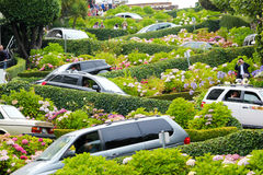 San Francisco, Lombard Street. August 2012, San Francisco, California: tourists and traffic jam on one of the most famous serpentine roads in the town, Lombard Royalty Free Stock Image