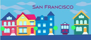 San Francisco magenta magenta lettering. Vector with colorful victorian houses and cable car on lightblue cloudy background. Trave royalty free illustration
