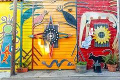 SAN FRANCISCO - 16. MAI: Wandgemälde in der Auftrag-Bezirksnachbarschaft in San Francisco im Mai 2016, a-Wandgemälde ist irgendei Lizenzfreies Stockbild
