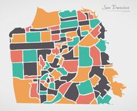 San Francisco Map with neighborhoods and modern round shapes. Illustration stock illustration