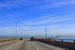 Driving on the San Mateo Bridge. San Francisco, MAR 17: Driving on the San Mateo Bridge on MAR 17, 2014 at San Francisco stock image