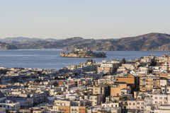 San Francisco Marina District and Alcatraz Island Stock Photo