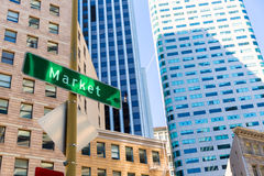 San Francisco Market Street Downtown in California Stock Photos