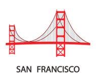 San Francisco Modern Cityscape Flat Illustration stock de ilustración