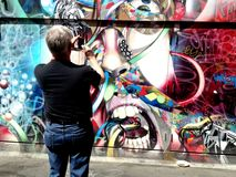 San Francisco murals with tourist Royalty Free Stock Image