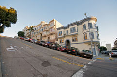 San Francisco Neighborhood. Telegraph Hill Neighborhood in San Francisco. Victorian Houses on a steep street stock photo