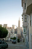 San Francisco Neighborhood. Telegraph Hill Neighborhood in San Francisco. View towards downtown San Francisco and the Transamerica Pyramid royalty free stock photos