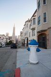 San Francisco Neighborhood. Telegraph Hill Neighborhood in San Francisco. View towards downtown San Francisco and the Transamerica Pyramid stock photos
