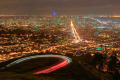 San Francisco at Night. Downtown San Francisco skyline from Twin Peaks at night Royalty Free Stock Photography