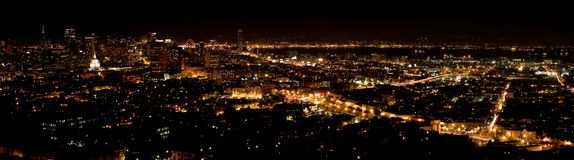 San Francisco by night. A large view of San Francisco by night Royalty Free Stock Photo