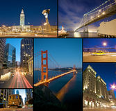San Francisco at night. San Francisco Landmark at night collage Stock Images