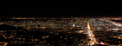 San Francisco by night. A view on San Francisco from Twin Peaks by night Royalty Free Stock Photo