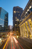 San Francisco at night. Blue Sky Sunset Evening traffic at the Embarcadero Downtown area in San Francisco. Federal Reserve Bank of San Francisco stock photos