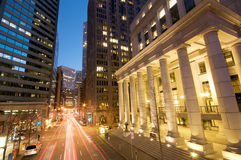 San Francisco at night. Sunset Evening traffic at the Embarcadero Downtown area in San Francisco. Federal Reserve Bank of San Francisco stock photo