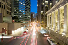 San Francisco at night. Sunset Evening traffic at the Embarcadero Downtown area in San Francisco. Federal Reserve Bank of San Francisco Stock Photography