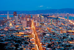 San Francisco at night. From above Royalty Free Stock Images
