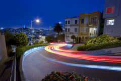 San Francisco at Night. Famous Attraction Lombard Street in San Francisco at Night Stock Images