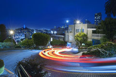 San Francisco at Night. Famous Attraction Lombard Street in San Francisco at Night Stock Image