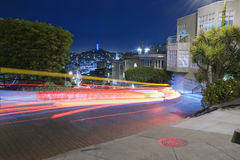 San Francisco at Night. Famous Attraction Lombard Street in San Francisco at Night Royalty Free Stock Photo