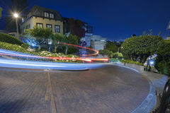 San Francisco at Night. Famous Attraction Lombard Street in San Francisco at Night Stock Photos