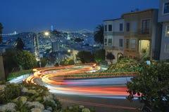 San Francisco at Night. Famous Attraction Lombard Stret in San Francisco at Night Royalty Free Stock Photos