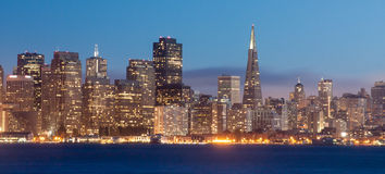 San Francisco at Night. The lights come up at twilight on the picturesque San Francisco skyline royalty free stock photo