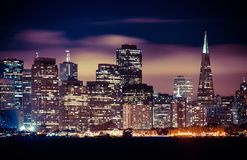 San Francisco At Night. Panorama of San Francisco At Night. San Francisco Skyline. California, United States Stock Images