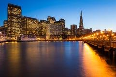 San Francisco at Night. San Francisco skyline from Pier 7 at dusk Royalty Free Stock Image