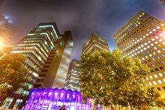 San Francisco night skyline in Union Square.  stock image