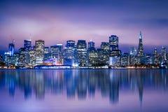 San Francisco Night Skyline Royalty Free Stock Images