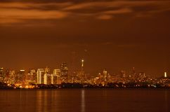 San Francisco At Night. Under winter storm clouds on New Years Day Eve Royalty Free Stock Photos