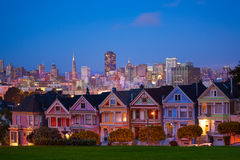 San Francisco night view from Painted Ladies. Beautiful San Francisco night view of skyline and painted ladies from Alamo square Stock Photography