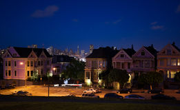 San Francisco night view photos form Alamo square Royalty Free Stock Photography