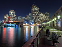 San Francisco at Night. View of the San Francisco skyline at night from one of the piers stock image