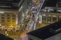 San Francisco Night View 5th Street at Market Street. San Francisco, California, USA - January 13, 2017:  Night view of downtown traffic at 5th Street and Market Stock Photos