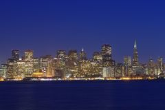 San Francisco at night View from Treasure Island royalty free stock photo