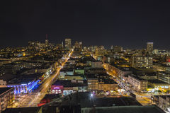 San Francisco Nob Hill Night. Editorial night view towards historic Nob Hill in the heart of downtown San Francisco, California Royalty Free Stock Images