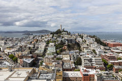 San Francisco North Beach en Coit-Torenbuurten Royalty-vrije Stock Afbeelding