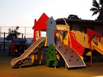 Kids play structure at Potrero Hill Recreation Center. San Francisco - November 7, 2011: Kids play structure featuring a slide that looks like a house and truck Royalty Free Stock Images