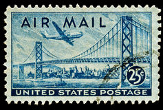 San Francisco-Oakland Bay Bridge Airmail Stamp. San Francisco-Oakland Bay Bridge and Boeing B337 Stratocruiser Airmail stamp Issued in 1947 Stock Images
