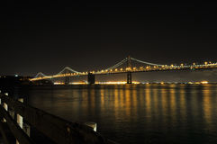 San Francisco Oakland Bay Bridge at night, California, USA.  Royalty Free Stock Photo