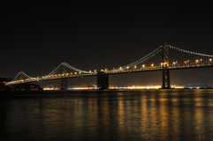 San Francisco Oakland Bay Bridge at night, California, USA.  Royalty Free Stock Image