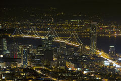 San Francisco Oakland Bay Bridge at Night. San Francisco City Skyline with Oakland Bay Bridge Night Scene Royalty Free Stock Photo