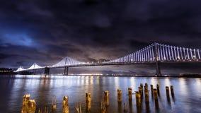 San Francisco-Oakland Bay Bridge at night Stock Images