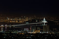 San Francisco Oakland Bay Bridge at Night (New Eastern Span). Night scene (nightscape) of San Francisco Oakland Bay Bridge in California, including new Eastern Royalty Free Stock Photos