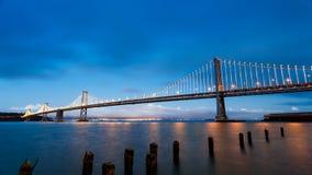 San Francisco-Oakland Bay Bridge at sunset Royalty Free Stock Photography