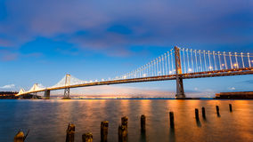 San Francisco-Oakland Bay Bridge at sunset Royalty Free Stock Image