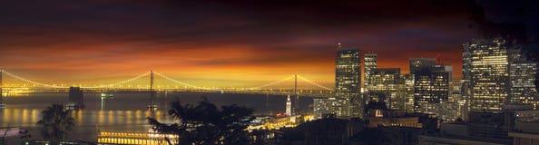 San Francisco Oakland Bay Bridge at Sunset. San Francisco Northern California City Skyline and Oakland Bay Bridge at Sunset Panorama Stock Photos